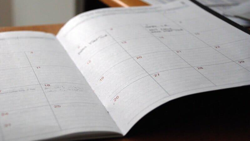 人がたくさん辞める時期を表すスケジュール帳